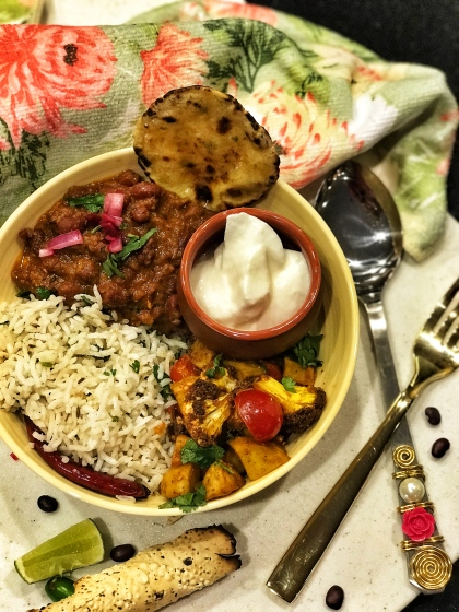 InstaPot Rajma Masala Bowl with Aloo Gobhi and Jeera Rice