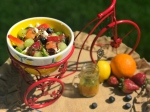 Summer Citrus Melon Salad - with 3 varieties of succulent melons (honeydew, watermelon, cantaloupe) and a bold, sweet and spicy dressing, this salad is undoubtedly fresh and juicy! Try it for your next picnic or potluck party and bask under the sun enjoying the refreshing story told by this melon salad!